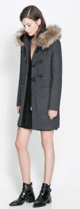Zara duffle coat with fur hood